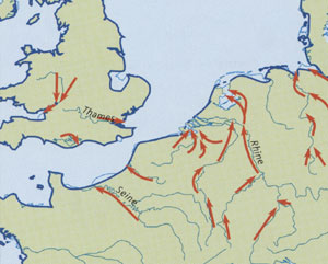 The coastline approximately 8,500 years ago. From 'London The Illustrated History', by Ross and Clark