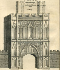 The Abbey Gate as seen in the early 18th century. From Antiquitates S Edmundi Burgi by Dr Batteley