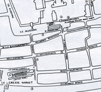 Spicer Row as in 1433. From Margaret Statham's Book of Bury St Edmunds